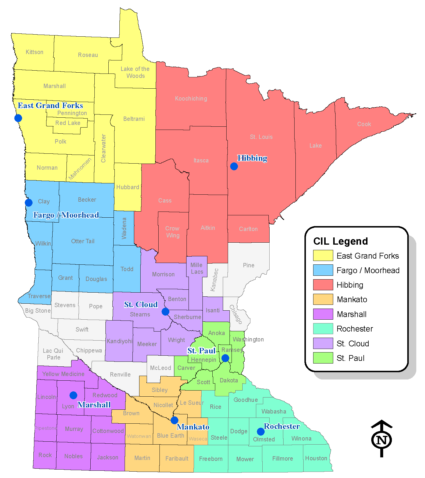 Minnesota map of CILS